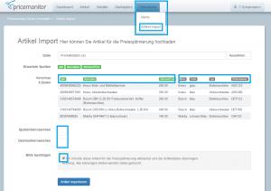 Pricemonitor Upload Import Artikelliste CSV mit Tags