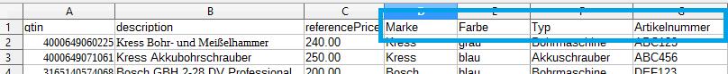 Pricemonitor Artikelliste CSV mit Tags