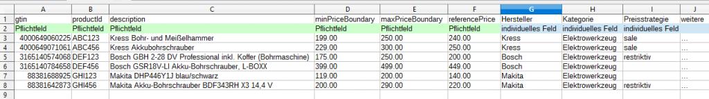 Beispieldaten für Anbindung an den Pricemonitor
