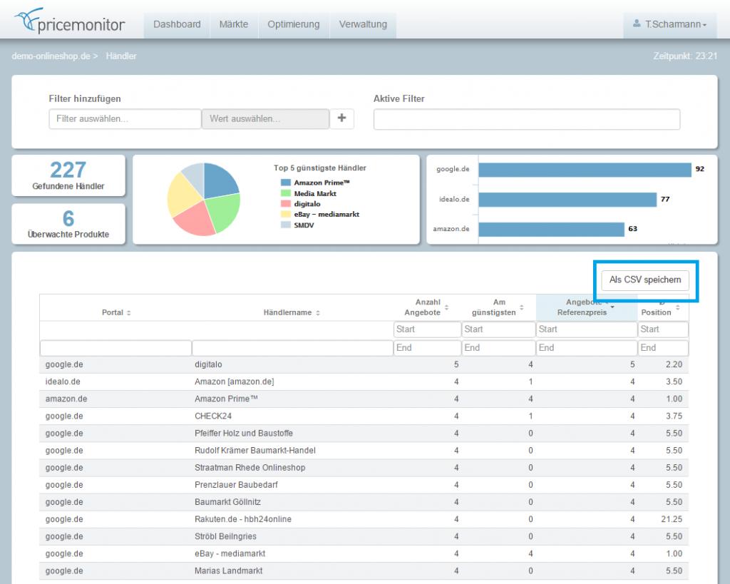 Screenshot CSV-Export