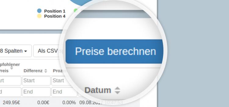 Neue Funktion im Pricemonitor: Preisberechnung jederzeit!