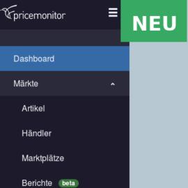 Pricemonitor erhält neue Navigation