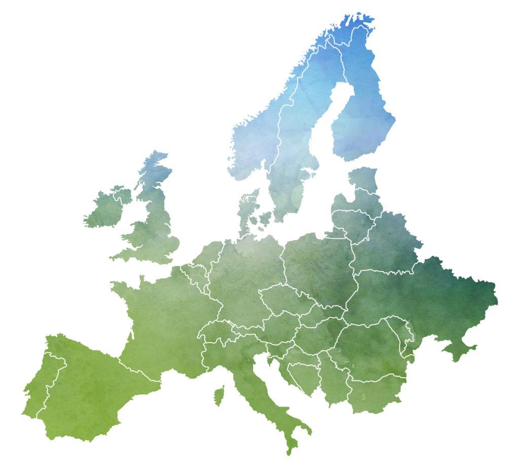 abstrakte Landkarte von Europa hinsichtlich der Marktplätze und Portale